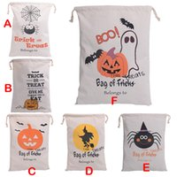 Wholesale 2016 styles Halloween Large Canvas bags cotton Drawstring Bag With Pumpkin devil spider Hallowmas Gifts Sack Bags cm