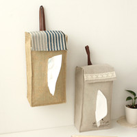 Wholesale New Rural Style Linen Cloth Car Tissue Holder Tissue Box Holder Paper Hanging Holder Towel Bag Tissue Case Toilet Paper Roll