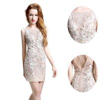 Wholesale Champagne Full Lace Sheath Homecoming Evening Dresses V Backless Beaded Knee Length Plus Size Formal Prom Event Party Gowns Custom Made