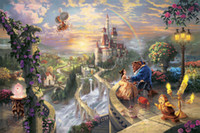 Digital printing beauty wall art - Framed Thomas Kinkade Beauty and the Beast Falling in Love HD Art Print Original Oil Painting Canvas high quality Home Wall Deco Multi Size