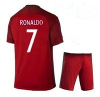 Wholesale 2016 European Cup Por tugal Ronaldo Home Red Soccer Jerseys Uniforms UEfAs BLANK Customized Football Shirts With Shorts Thai Quality