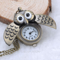 Wholesale Unique Antique Fashion Alloy Vivid Owl Pocket Watch Pendent Necklace Chain Vine Fob Watch Active Wings Clock