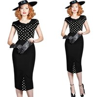 Wholesale Hot Summer Mid Calf Women Work Dresses Cap Sleeves Office Lady Ready To Work Dresses Bodycon Pencil Fashion Party Evening Wears FS0050