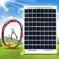оптовых клетки солнечной панели-10Вт 12V Сотовый панели солнечных батарей Модуль зарядного устройства Солнечная зарядка RV Лодка Кемпинг 4M кабель CEC_61J