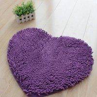 Wholesale New Arrival Flock Bedroom Mats Heart Shaped Floor Mats Doormat Bath Kitchen Rug Chenille Cushion Room Pad x60cm