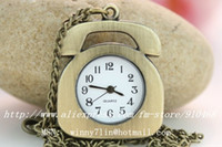 Unisex analog telephone - fashion vine telephone pocket watch Quartz Pocket Watches Necklace gift watch