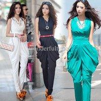 army playsuit - New Fashion Women Party High waist Playsuit Jumpsuit Harem Pants Graceful Green Black white