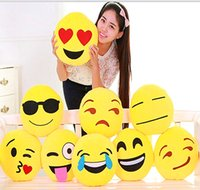 Wholesale QQ Expression Plush Toys Style cm Cute Lovely Emoji Smiley Pillows Cartoon Facial kids Toys Yellow Plush Pillow toys