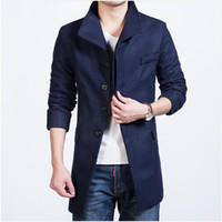 Wholesale High quality New Fashion Brand casual Mens Jackets And Coats Mens Single Breasted Pea Men Wool Coat plus size