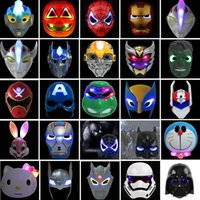 adult captain america mask - 25 Design Christmas LED Glowing Superhero Mask For Kid Adult Avengers Marvel Spiderman Ironman Captain America Hulk Batman Party Mask