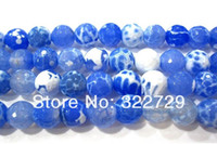 Wholesale 10mm Natural Gem Crystal Stones Blue Faceted Agate beads Fashion Fine Accessories DIY Jewellery Making