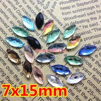 Wholesale 200pcs x15mm Flat Back Navette Fancy Crystal Stones Marquise Chessboard Glass Stones rainbow champagne Aquamarine More Color