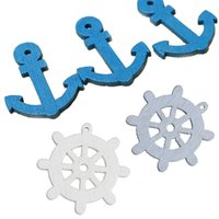 achat en gros de embellissements en bois artisanat-50pcs New Wooden Sea Anchor Wheel Nautical Craft Scrapbook Embellishment Decor