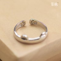 Wholesale Creative S925 Silver Female Cute Cat Ring Opening Index Finger Tail Ring Korea Original Personalized Gift Silverware