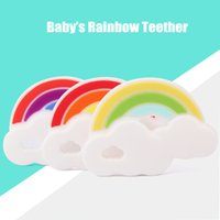 Wholesale New Silicone Rainbow Teether Health Silicone Baby Teething Toys BAP Free Silicone Pendant Necklace Chewable Toys Nursing Baby Teethers