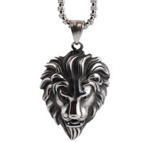 Wholesale Latest design Hip Hop Lion Head Pendant Necklace For Men Luxury Stainless Steel Male Jewelry Friendship Gift