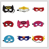 Wholesale 134 Design Superhero mask Superman Batman Spiderman Hulk Thor IronMan Flash Captain America Wolverine Halloween Party Costumes for Kids