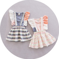 baby suspenders toddler - 2016 Toddler Baby Girl Set Summer Lace Sleeve Tops Suspender Skirt Children Clothes Outfit Set sets K7350