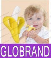 Wholesale Baby Teethers Baby Teething Rings Bite Silicone Banana Toothbrush Without BPA opp bag packing GLO119