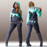 animal ski pants - Sports Suit Jogging Suits For Women Letter vs Pink Print Sport Suit Hoodies Sweatshirt Pant Jogging Sportswear Costume piece Set