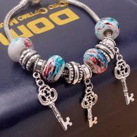 beaded key rings - New Arrival Korean Style Women s Retro Fashion Snake Chain Bracelet Key Pendant DIY Jewelry High Quality Charms Beads