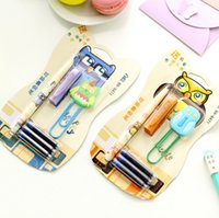 Wholesale Novelty Colorful Owl Fountain Pen with Paper Clip Stationery Set Student Prize FOD