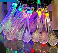 Wholesale 20 LED Solar Powered Water Drop String Lights LED Fairy Light for Wedding Christmas Party Festival Outdoor Indoor Decoration