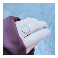 Wholesale 925 new European minimalist geometric openwork silver ring Kong Hyo Jin with female ring opening does not fade all match