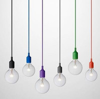 Wholesale Cord Holder Wholesale - Art Decor Silicone E27 Pendant Lamp Ceiling light bulb Holder Hanging lighting Fixture base Socket Modern silica gel retro Colorful muuto