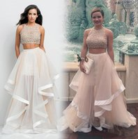 Wholesale 2016 Top Selling Beaded Rachel Allan Two Pieces Prom Dresses Formal Gowns Pageant Dresses Flounced Skirt Tulle Chapel Train Evening Dresses