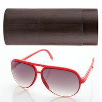 Wholesale New Vintage bamboo Wooden Sunglasses Protect Box Frame Glasses Case Brown