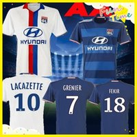 Wholesale DHL Maillot de Foot Olympique Lyonnais Lacazette Valbuena Maillot Lyon Soccer Jersey Gonalons Fekir Olympique Lyon