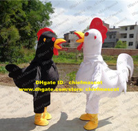 big chicken wings - Graphic Black White Cock Rooster Hen Chicken Chook Mascot Costume Cartoon Character Mascotte Yellow Feet Big Tail Wings ZZ11 FS