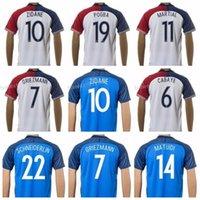 Wholesale Men Zinedine Zidane Soccer Jersey Football Shirt Custom POGBA GRIEZMANN MARTIAL CABAYE SCHNEIDERLIN COSTIL