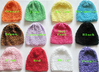 baby wheat - 10pcs Colorful soft Baby quot Crochet Beanie Hats Infant Handmade Knit weave Waffle hat String Wheat Caps Newborn cap colors MZ9101