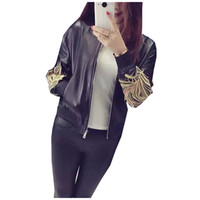 leather jackets for women - PU Jackets for Women Autumn Winter Womens Brand Faux Soft Leather Jacket Black Embroidery Long Sleeve Coats