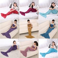 Wholesale Kids Mermaid Blankets Handmade Mermaid Tail Blankets Mermaid Tail Sleeping Bag Knit Sofa Nap Falbala Blankets Costume Cocoon