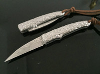 autograph collecting - Damascus small silversmith folding knife Collect folded knife Collectables autograph mini knife High end gifts folding knife Free transp