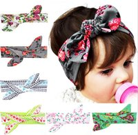 baby print ribbon - 6 Colors Flora Print Bow Knot Baby Girls Hairband Rabbit Ear Bowknot Headband Cotton Head Band for Kids Girls KB519