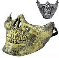 airsoft face mask - Fun Paintball PVC Airsoft Masks Scary Skeleton Skull Mask Protective CS Games Halloween Carnival New Year High Quality Colors