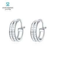 Wholesale Star Harvest High Quality Fashion sterling Silver Clip Earrings with Rhodium Plating Hip Hop Earring for Men