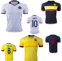 colombia - New Colombia Soccer Jerseys Uniforms Yellow White JAMES Football Shirt FALCAO CUADRAD AGUILAR GUARIN Thai Quality