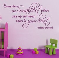 Wholesale wall sticker quotes hot selling sometimes smallest things Winnie The Pooh Wall Quote Nursery Sticker Vinyl Decal