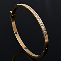 bangle bracelet for sale - Hot Sale Fashion Opening Titanium Steel Bangles One Row Crystal Bangles Women Bracelet For Party Gift