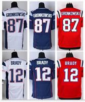 Wholesale Patriots Elite Mens Football Jerseys Brady Gronkowski Elite Version Navy Blue White Red Stitched Jerseys Mix Order Accept