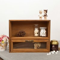Wholesale Vintage Wood Cabinet With Glass Drawer CM