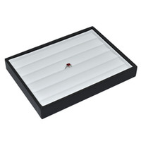 Wholesale New Arrival Small Ring Rows Black Lether Wood Tray Insert Display Tray Ring Display Stand