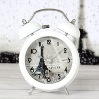 bell french - French style romantic France forever Paris Eiffel Tower metal bell alarm clock table desk desktop mute clock study decoration