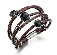 Wholesale new arrival hand woven Many laps Stainless Steel Cowhide rope bracelets