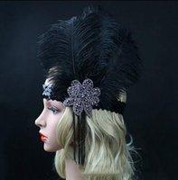 Wholesale Black Ostrich Rhinestone Feather Headpiece Vintage Party Wedding Headband Flapper s Great Gatsby Hot Hair Band WLL9099